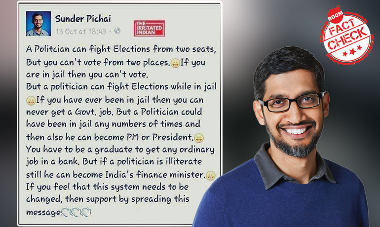 Did Sundar Pichai Say, An Illiterate Politician Can Become Indias FM?