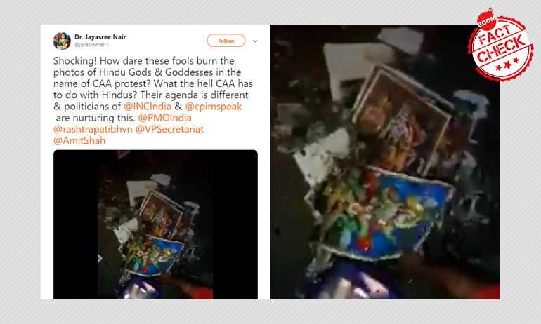 False: Anti-CAA Protesters Burnt Photos Of Hindu Gods