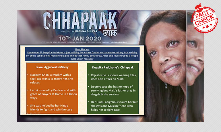 BOOM At The Movies: Fact-Checking False Claims Around Deepika Starrer Chhapaak