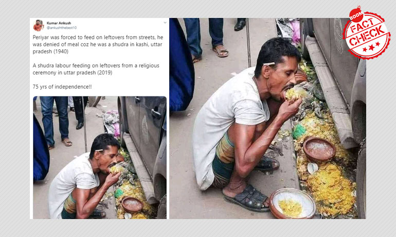 Photo Of A Man Eating From A Gutter In Bangladesh Falsely Shared As UP