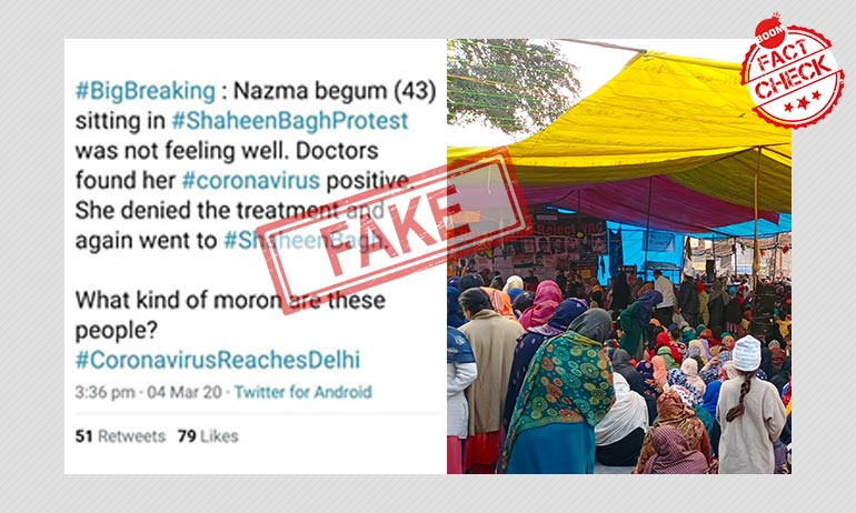 Fake Messages Claim Shaheen Bagh Protester Tested Positive For Coronavirus