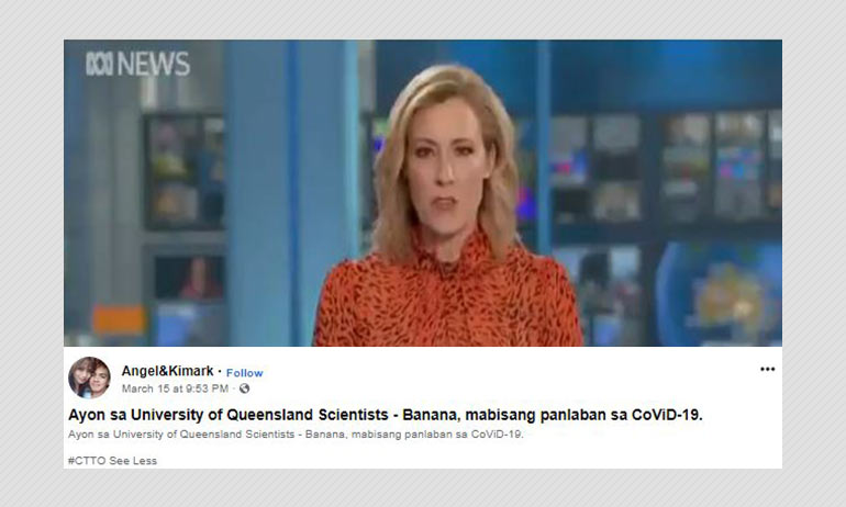 Australian News Report Edited To Show Bananas Defend Against COVID-19