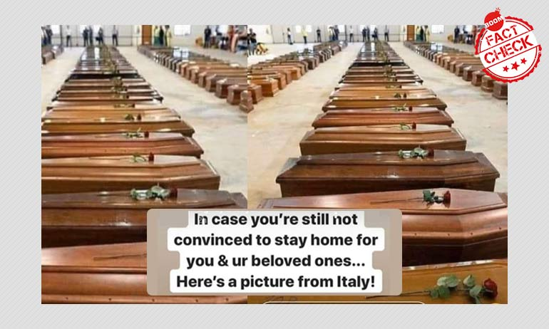 Dated Photo Showing Rows Of Coffins Shared As Coronavirus-Hit Italy