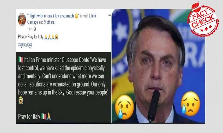 Image Of Brazilian President Breaking Down Falsely Linked To Coronavirus-Hit Italy