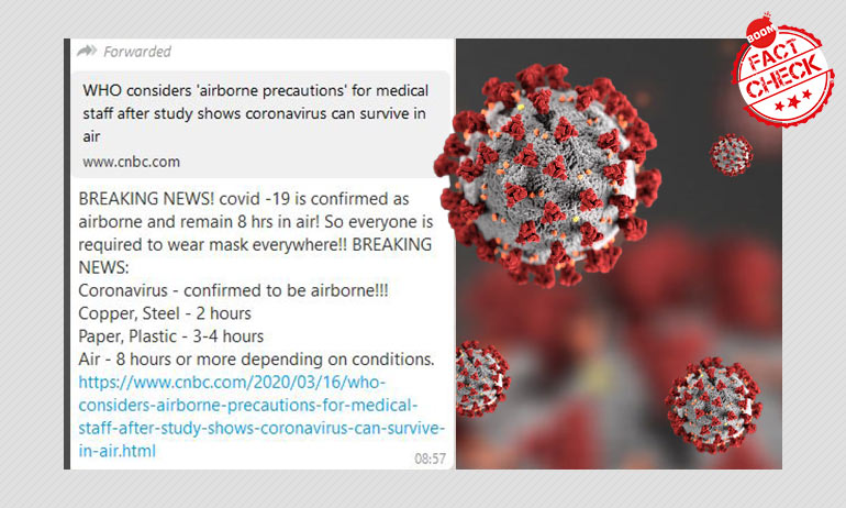 Message Claiming Coronavirus Can Last Up To 8 Hours In Air Is Misleading