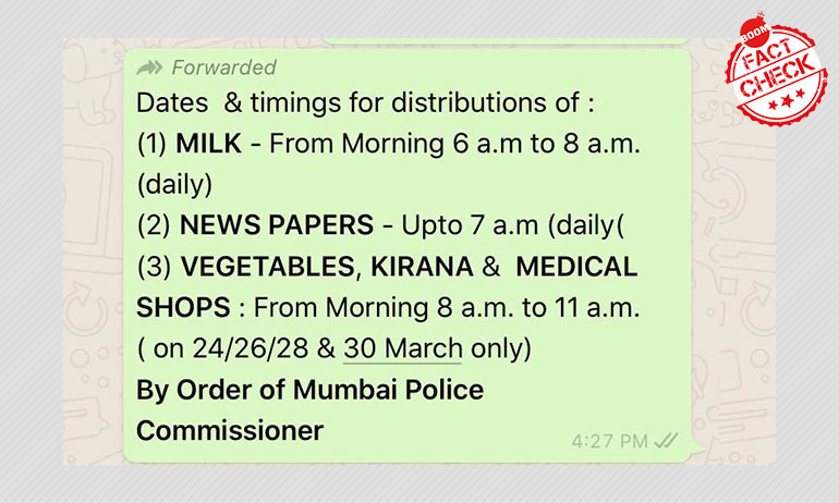 Mumbai Police Rubbishes Viral Message On Timings Of Essential Items Sold