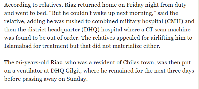 Snapshot of an article on Dr Osama Riyaz's death published in Tribune