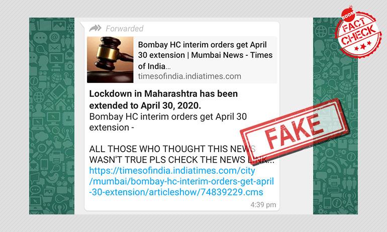 No, The Bombay HC Has Not Extended Maharashtra Lockdown Till April 30