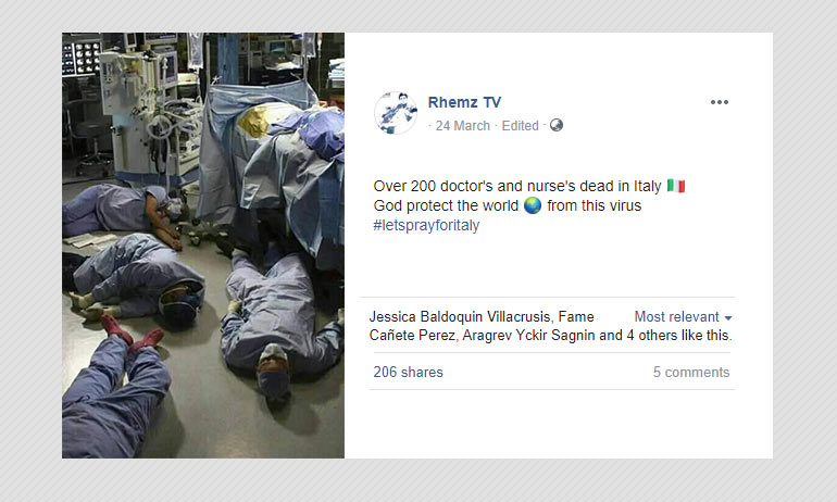 Still From Greys Anatomy Shared As Medical Staff Dead In Italy