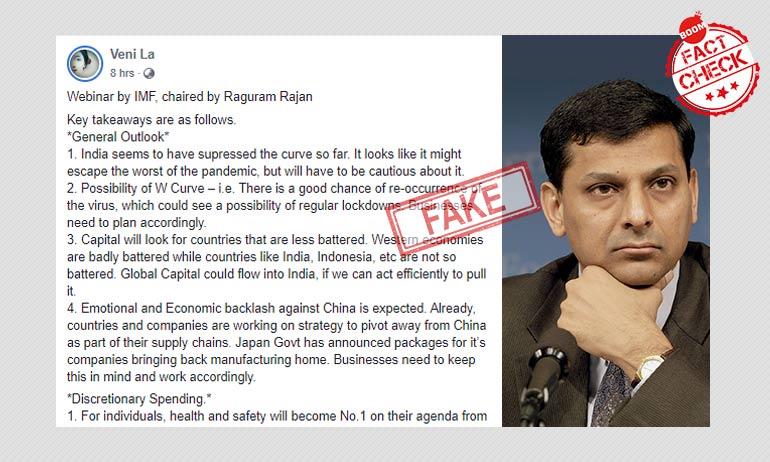 Raghuram Rajan Did Not Address IMF Webinar On COVID-19