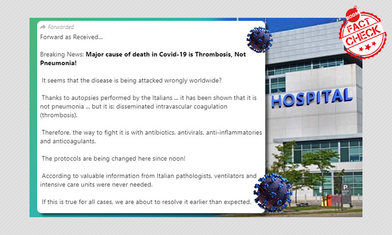 Is Thrombosis The Leading Cause Of COVID-19 Deaths? A FactCheck