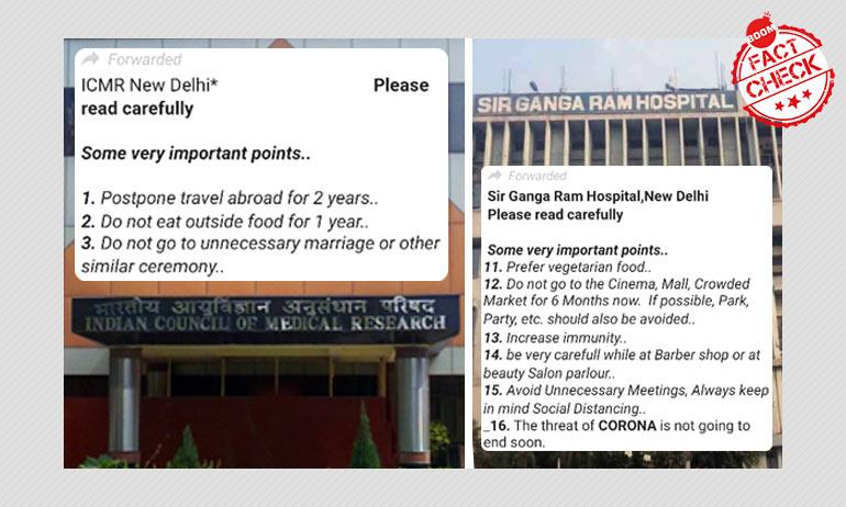Viral COVID-19 Advisory Not Published By ICMR, Sir Ganga Ram Hospital