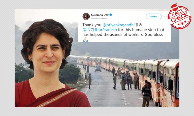 2019 Pic Peddled As Buses Organised By Priyanka Gandhi Vadra For Migrants