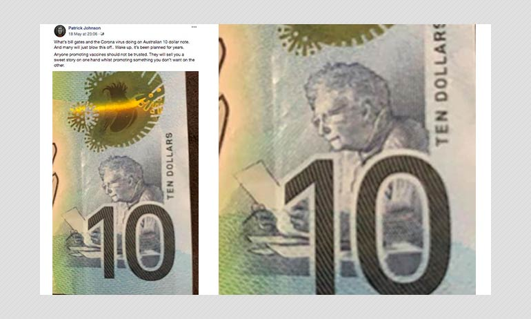 Does Australian $10 Note Feature Images Of Coronavirus & Bill Gates?