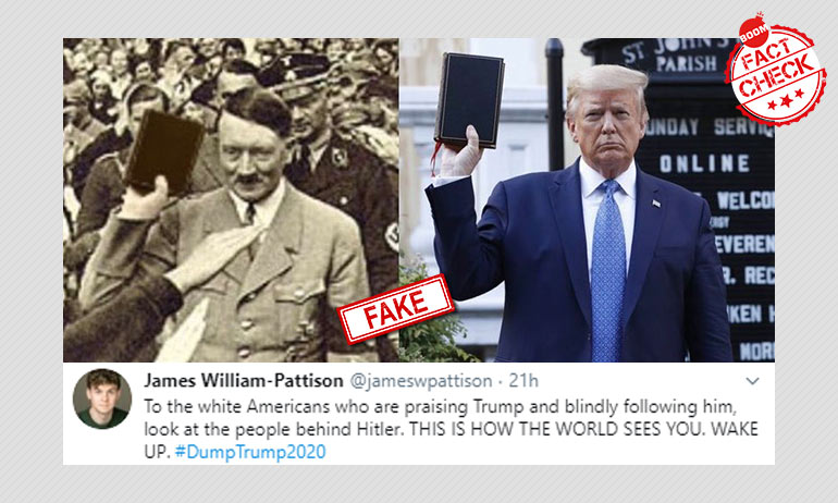 Image Comparing Hitler With Trump Posing With Bible Is Morphed