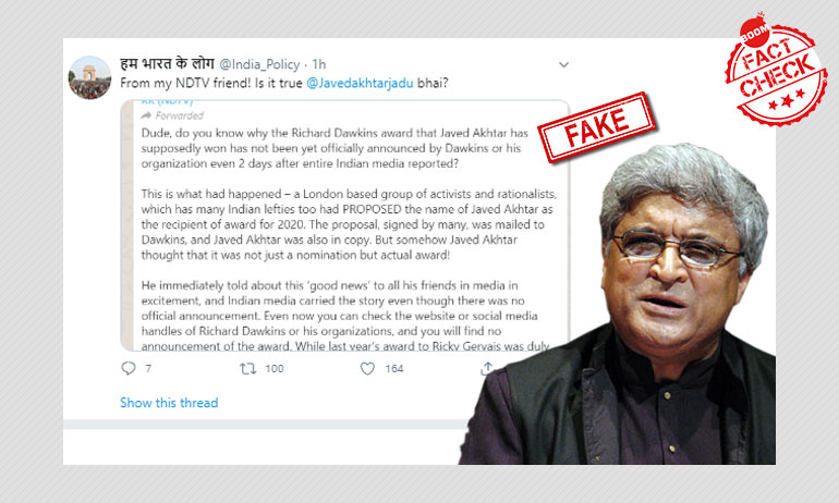 Fake Message Claims Javed Akhtar Didn