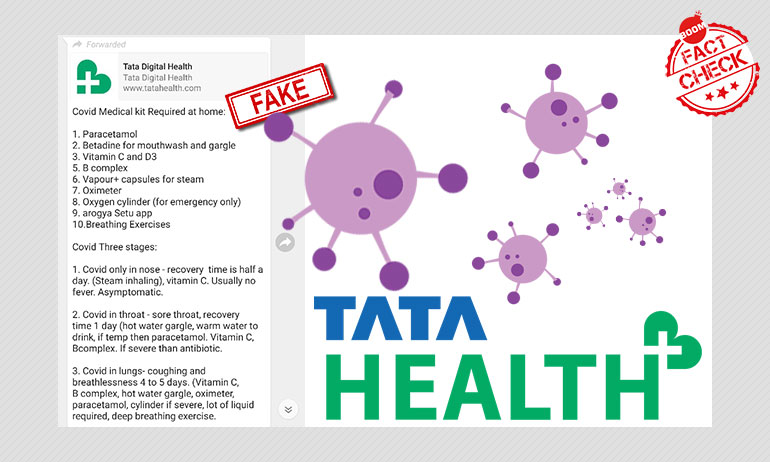 Viral Message Recommending COVID-19 Home Kits Is Not From Tata Health