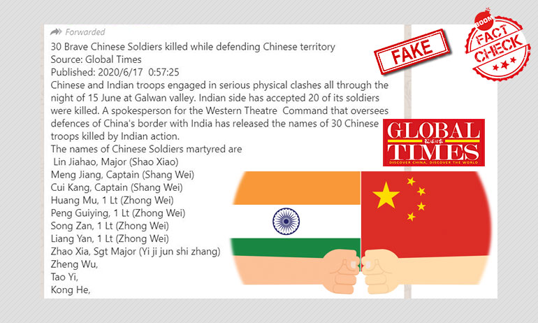 Message Claiming Global Times Reported 30 Chinese Soldiers Dead Is Fake