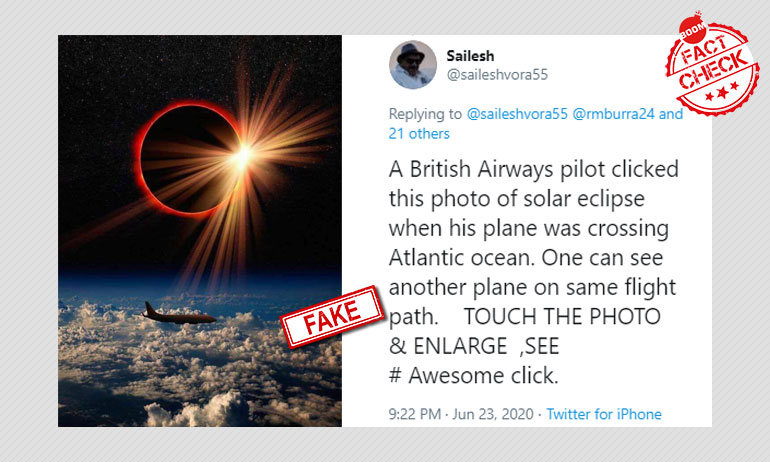 No, This Is Not A Picture Of A Solar Eclipse Clicked By A Pilot
