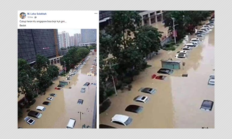 Photo Of Flooded Street In Guangzhou Shared As Photo From Singapore
