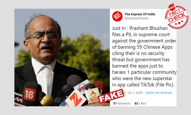 Fake Tweet Claims Prashant Bhushan Filed PIL Challenging TikTok Ban