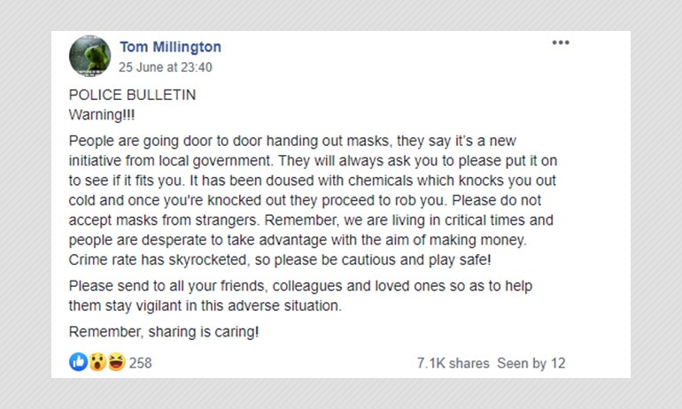 Fake Police Bulletin Warning Of Face Mask Scam Viral On Social Media