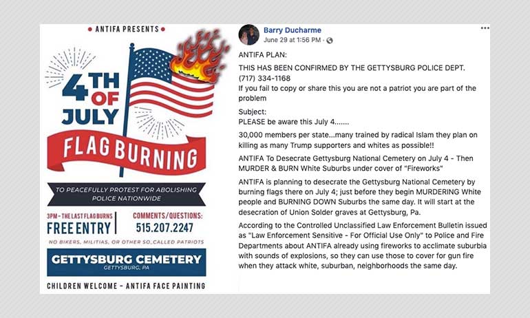 Police Say Antifa Plot To Attack Gettysburg Suburbs On July 4 Unproven