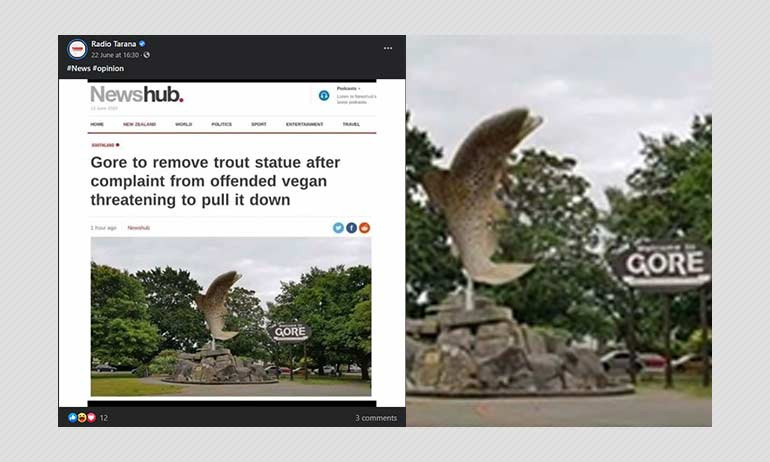 Was A Trout Statue In New Zealand Removed For Offending Vegans?