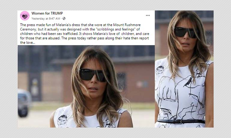 Did Melania Trumps Dress Feature Drawings By Child Sex Abuse Victims?