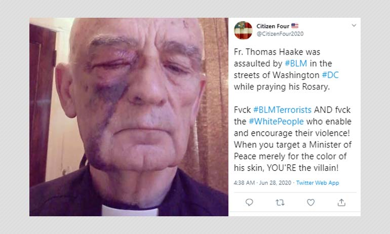 Did Black Lives Matter Protesters Assault A Priest In Washington DC?