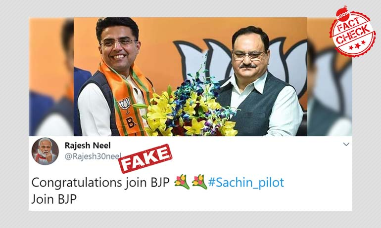 Image Showing Sachin Pilot With JP Nadda Is Photoshopped
