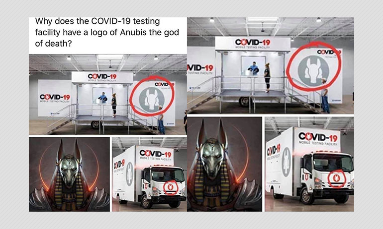 Does This Logo On COVID-19 Testing Trucks Show Egyptian God Of Death?