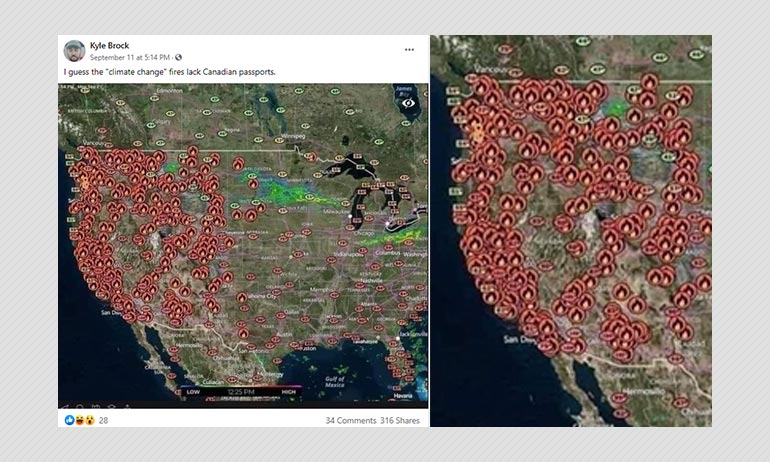 Us And Canada Wildfires Map Map Of US Wildfires Shared To Cast Doubts On Climate Change
