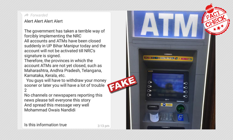False: Social Media Claims That Bank Accounts To Be Shut Without NRC