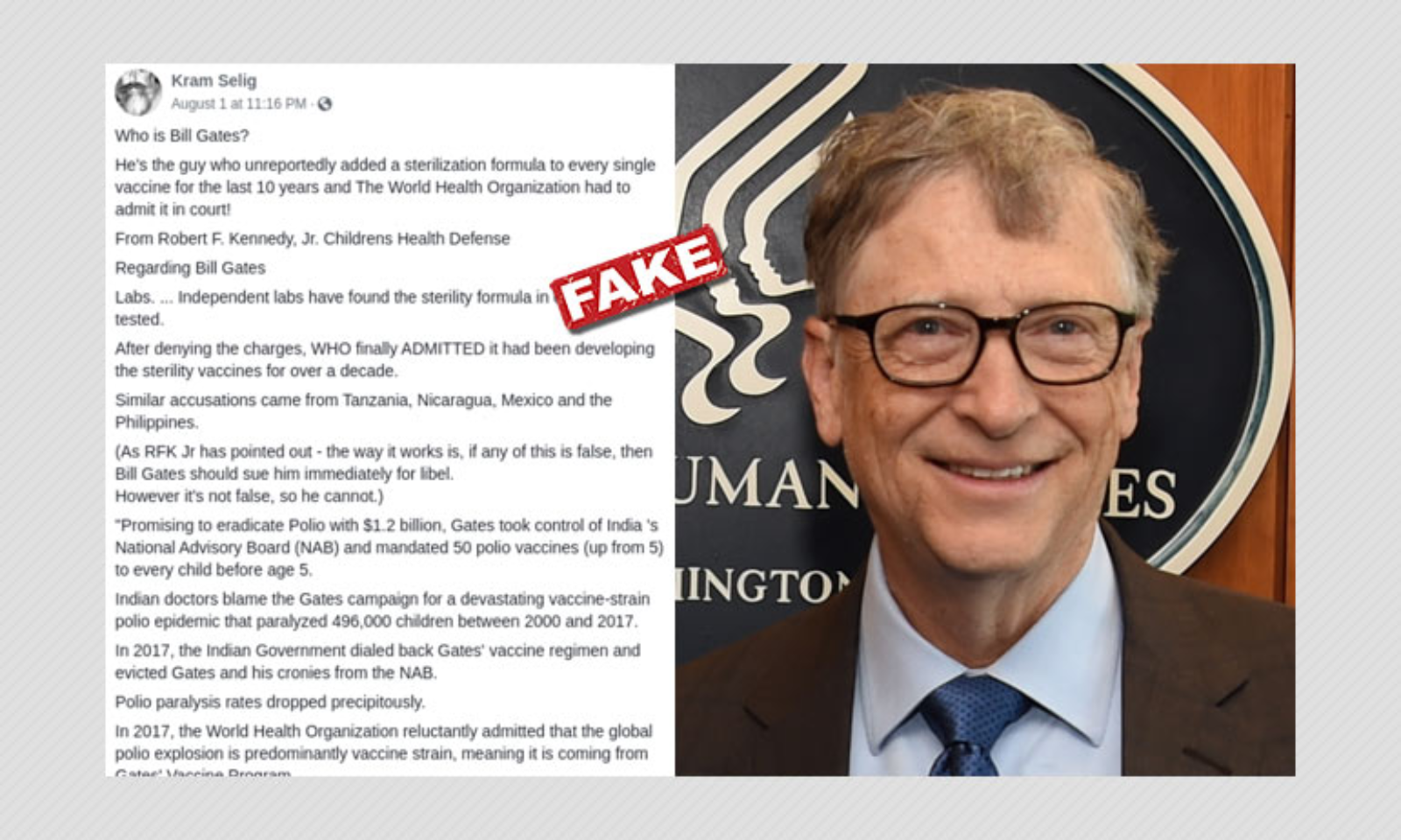 Did WHO Say Bill Gates Is Adding Sterilisation Formula In Vaccines?