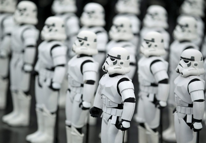 Stormtrooper figurines on display in an exhibition celebrating the 30th anniversary of Return of the Jedi in 2013. (Source: EPA/Juan Herrero)