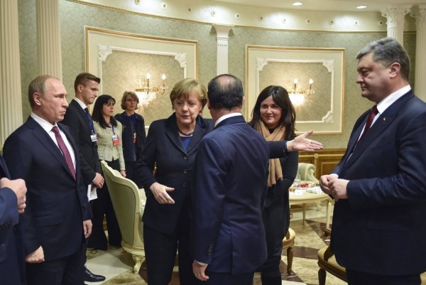 Political leaders at the signing of the Minsk 2 agreement in February '15.