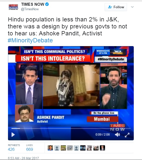 Are Hindus Less Than 2% In J&K As Projected By A Times Now Tweet: A FactCheck
