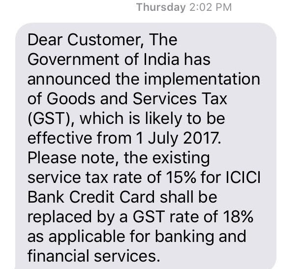 ICICI's SMS to Credit Card customers