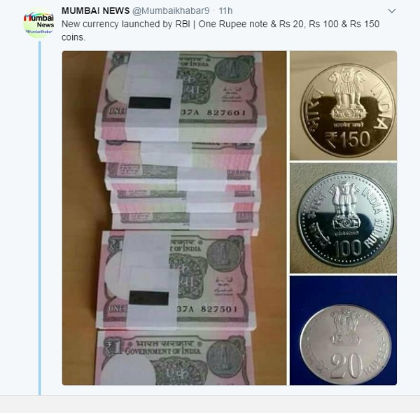 Did RBI Issue Rs  20, Rs  150, Rs  100, Rs  1000 Coins?: A