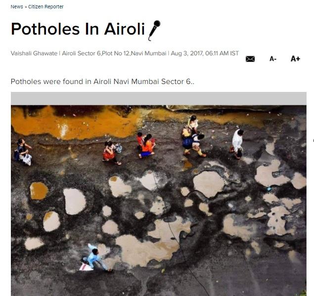 Potholes in Airoli