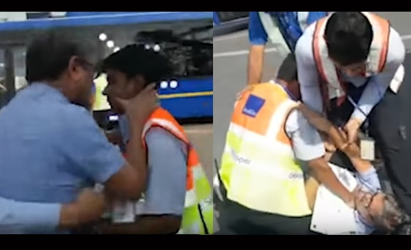 Screengrab of scuffle between a Indigo passenger and employees on October 15