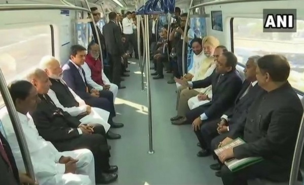 Modi flags off Hyderabad Metro