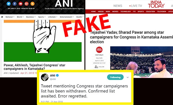 News Websites Report Fake List Of Congress' Star Campaigners For ...