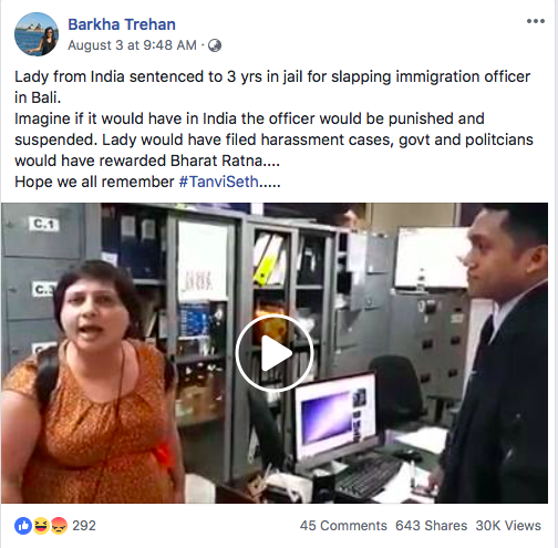 Woman slapping immigration officer at Bali