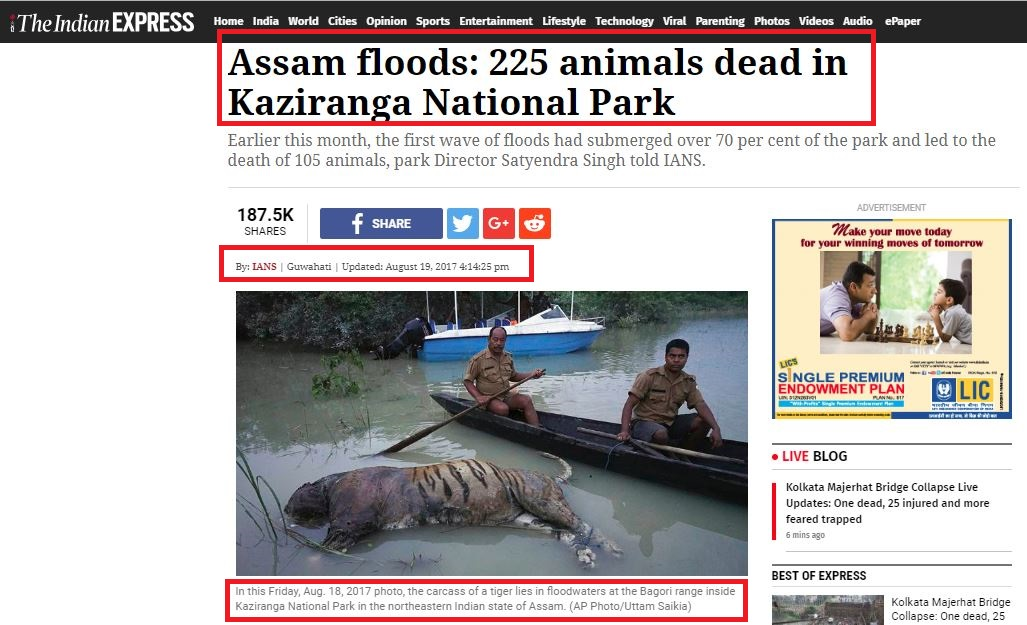 IE article on assam floods 2017