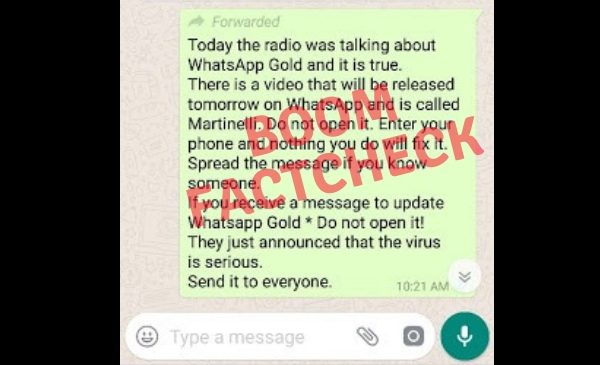 WhatsApp Message Warning About 'Martinelli' Virus Is A Hoax