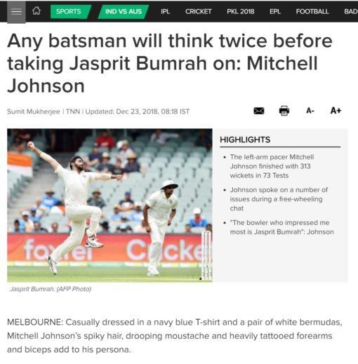 Mitchell Johnson India vs Aus