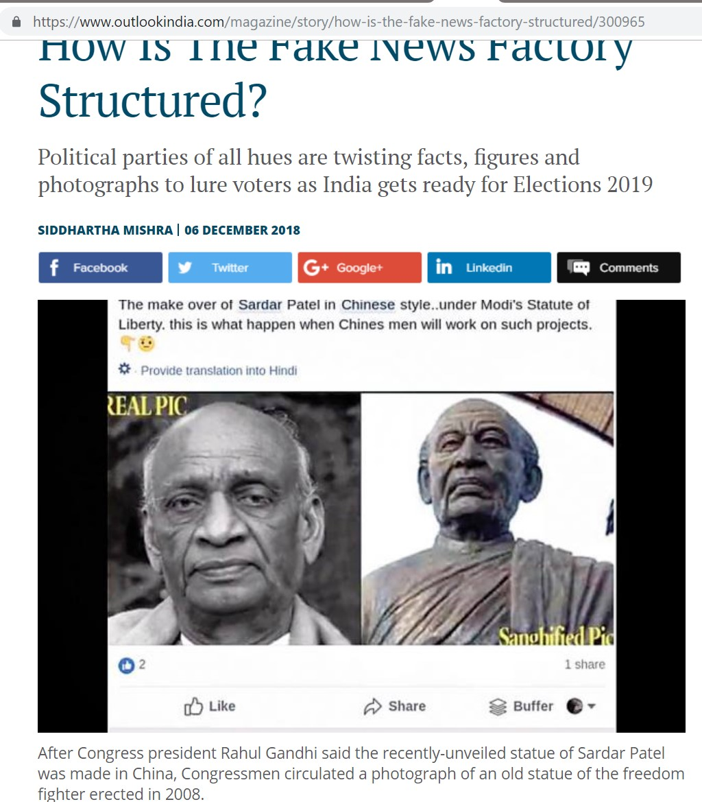 This Analysis Shows How Viral Fake Election News Stories: No, This Is Not A Photo Of The Statue Of Unity