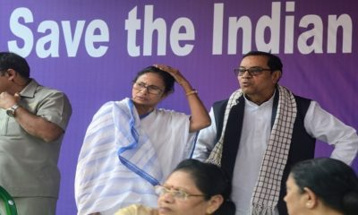 West Bengal Chief Minister Mamata Banerjee with Samajwadi Party (SP) leader Kiranmoy Nanda